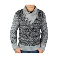 pull homme col montant gris macktenfashion