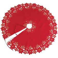 Festive Poinsettia Embroidered Cutwork Holiday Tree Skirt