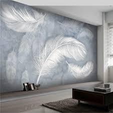 großhandel modern fashion feder wallpaper 3d handgemalte fototapete wohnzimmer schlafzimmer creative wall papel mural williem 23 94 auf