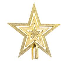 1Pcs Shining Star Christmas Tree Top Ornament 2 Sizes Gold Glitter Stars Home House Party Festival Carnival Decoration In Toppers From