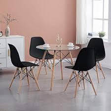 hj wedoo esszimmergruppe moderner glastisch rund esstisch mit 4 schwarz stühlen geeignet für esszimmer küche wohnzimmer