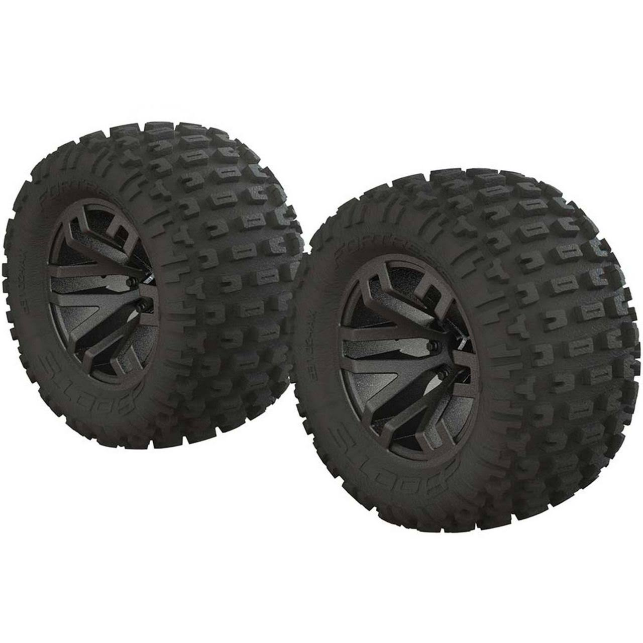 Arrma Ar550045 dBoots Fortress MT Tire Set - Glued, Black Chrome, 2pk