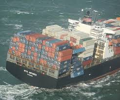 Container Ship With Falling Off