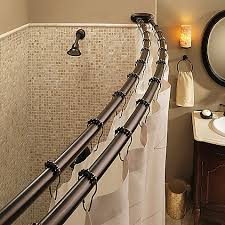 Bendable Curtain Rod For Oval Window by Moen Old World Bronze Double Curved Shower Rod Shower Rod Bath