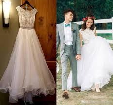 cheap country beach wedding dresses lace top tulle sleeveless a