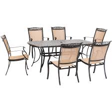 Details About Hanover Fontana 7-Piece Outdoor Dining Set With 6 Sling  Chairs And A 38-In. X Ding Table 6 Chairs New 5 Piece Table Set 4 Chairs Glass Metal Kitchen Room Fniture Kitchen Simple Ding And Chair Set Black Incredible Size Medida Para Mesa Em Http And Ikea Clearance White Gloss Lenoir Brasilia Style Senarai Harga Homez Solid Wood C 38 Ww T Small Extending Tables Unique Elegant Square New Transitional 7pc Deep Finish Uph Seat Grand Mahogany Hard 68 Seater Kincaid Mill House With Monaco Rectangular Outdoor Patio Office Computer Chair Cover Task Slipcover