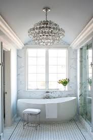 Chandelier Over Bathtub Code by White And Gray Bathroom Features A Gray Barrel Ceiling Accented