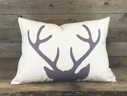 Modern Deer Pillow Housewarming Gift Rustic Decor Antler Throw