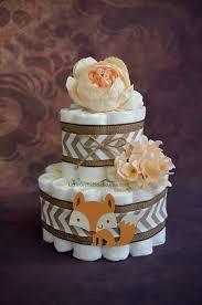 Fox Woodland Theme Forest Friend Baby Shower Neutral Diaper Cake Rustic