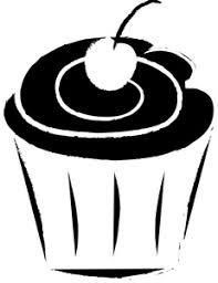 Cupcake Clipart Image Black and White Cupcake