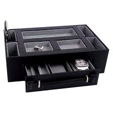 Mens Dresser Top Valet by Leather Valet Box With Pen U0026amp Watch Drawer Black Leather