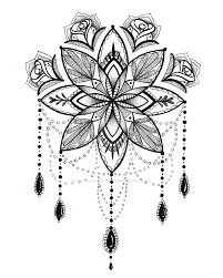 Tattoo Inspired Pen And Ink Drawing Black White Mandala With Chandelier Design Roses Original Pencil Designs
