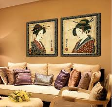 Classical Japanese Painting Wall Decor Prints Pictures Portrait Woman Oil Art Canvas For Room Decoration 2 Pcs In Calligraphy