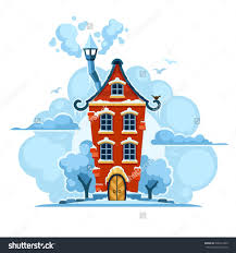 Home Decor Large Size Winter Fairy Tale House In Snow With Clouds Vector Illustration Save