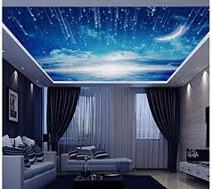 5d 8d space blue sky moon 3d wall ceiling wall picture vinyl