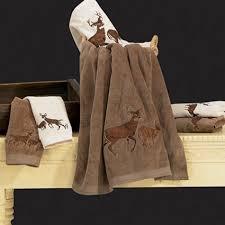 Embroidered Rustic Wildlife Bear Bath Towels Set