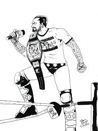 Wwe Coloring Sheets Print Raw Printable Pages Cm Punk
