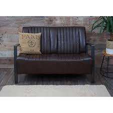 wohnzimmer set hwc h10 2er sofa polstersessel couchtisch kunstleder metall industrial fsc braun