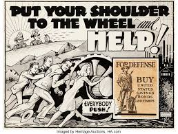 Original Comic ArtIllustrations Edgar Church Put Your Shoulder To The Wheel And Help