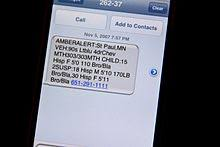 A text message on an iPhone announcing an AMBER Alert