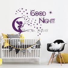 autocollant chambre bébé stickers muraux devis bonne nuit lune étoiles fée vinyle autocollant