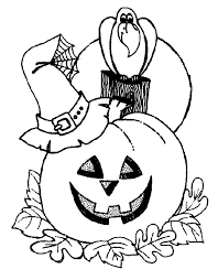 Pumpkins Witch Hat And Crow Coloring Page