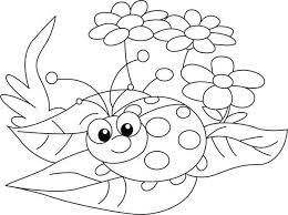 Lady Bug And Three Beautiful Flower Coloring Page