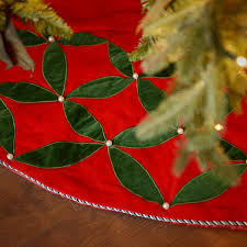 Seasons Designs 56 Inch Red Velvet Christmas Tree Skirt With Beaded Green Leaf Design