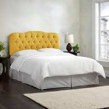 Blue Velvet King Headboard by Yellow Tufted Headboard With Blue Velvet Pillows And White Linens