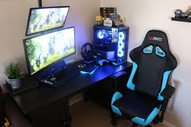 Glowing Light Blue Gaming Computer Setup. Electric Blue ...