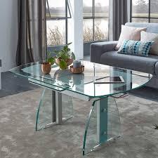 wohnzimmer funktionstisch aus glas mit auszug zogaria