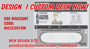 Pintail Longboard Deck Template by Custom Skateboard Manufacturer Point Distribution
