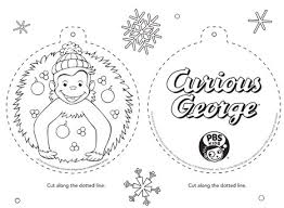 Curious George Christmas Coloring Page Ornament