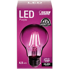 a19 clear glass purple led bulb feit electric