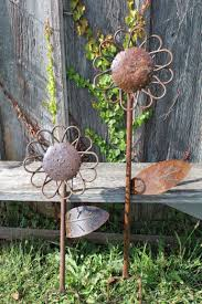 Small Rusty Metal Flower Garden Stake Decoration