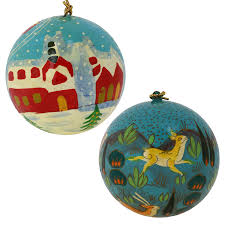 Qvc Christmas Tree With Remote by Amazon Com Set Of 12 Turquoise Paper Mache Christmas Ornaments