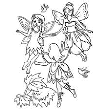 Three Flying Fairies Little Cherubs Fairy Coloring Page To Print Free