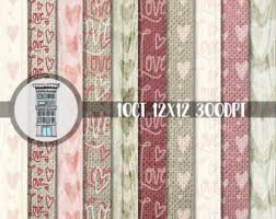 Digital Rustic Valentine Paper Pack INSTANT DOWNLOAD Scrapbook Love Hearts With Wood And Burlap