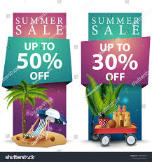 Summer Sale Two Discount Banners Palm Stock Vector (Royalty ...