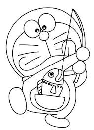 Doraemon Coloring Pages Fishing