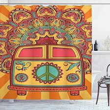 70er jahre dekorationen vorhang für die dusche ambesonne hippie vintage mini ornament hintergrund peace zeichen stoff badezimmer decor