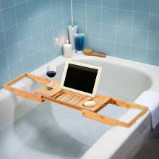 Bamboo Bathtub Caddy With Reading Rack by Homcom Bamboo Bathtub Caddy Shower Bath Shelf Expandable Tray