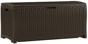wicker 73 gallon resin deck box 46 w x 22 5 h x 21 5 d