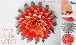 How To Make Paper Beautiful Craft Dahlia Wreath Step By DIY Tutorial Ins