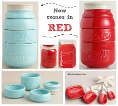 Red And Turquoise Kitchen Decor Mason Jar Measuring Cups Now Come In Teal