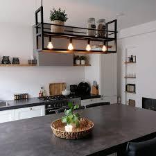 qazqa modern industrie industrial hängele pendelle pendelleuchte esstisch esszimmer schwarz mit 4 flammig licht rack cage rack