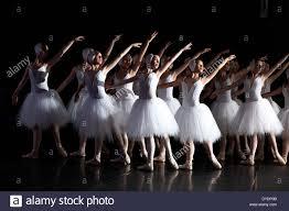 group of ballet dancers in romantic tutus performing swan lake