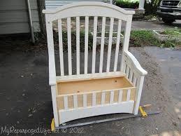upcycled repurposed crib into toy box bench hometalk