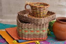 Baskets Newspaper Tubes Box Paper Home Decor Wicker Basket Unusual Decoration