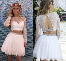 2017 little white two piece short homecoming dress a line lace